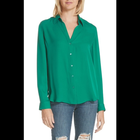 e8eb2d14c488 L'AGENCE Tops | Lagence Silk Shirt In Emerald Green | Poshmark
